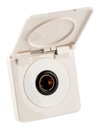 Billede af Stikdåse med klap 12 V hvid
